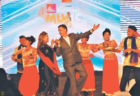 Actors Hari Bansha Acharya and Deepa Shree Niraula perform a dance number at the event. Post Photo: Keshav Thapa/Ekantipur